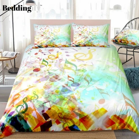 Image of Colorful Musical Notes Bedding Set - Beddingify