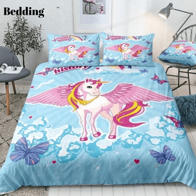Pink Unicorn Blue Sky Bedding Set - Beddingify