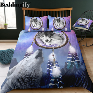 Wolf Howling Dreamcatcher Bedding Set