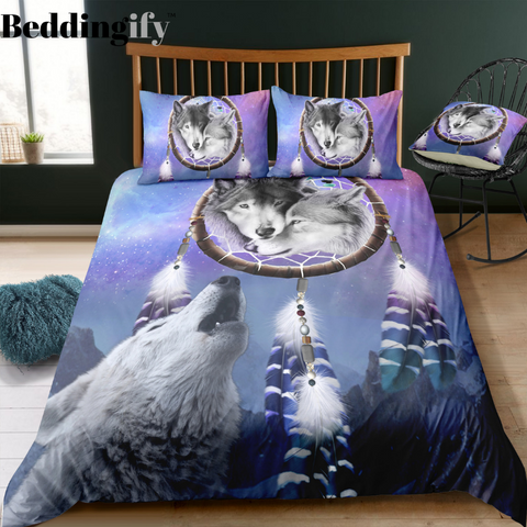 Wolf Howling Dreamcatcher Bedding Set - Beddingify