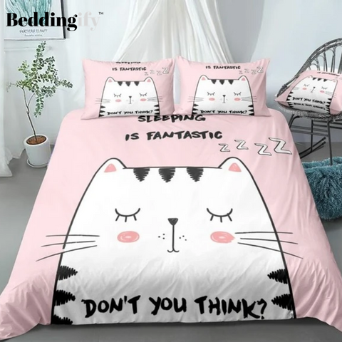 Pink Cartoon Cat Bedding Set - Beddingify