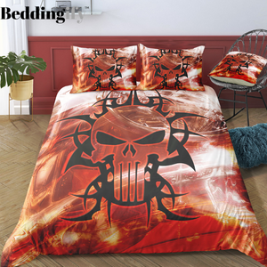 """Red Warning"" Skull Bedding Set - Beddingify"