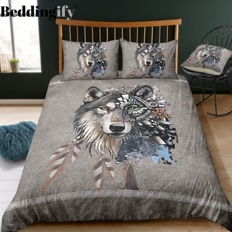 Native Indian Mystic Wolf Bedding Set