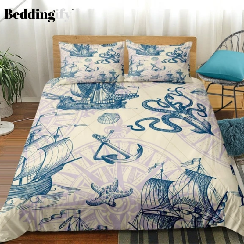 Octopus Compass Sailboat Bedding Set - Beddingify