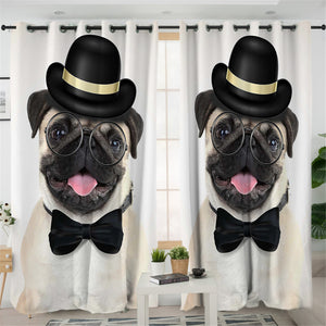 Funny Pug 2 Panel Curtains
