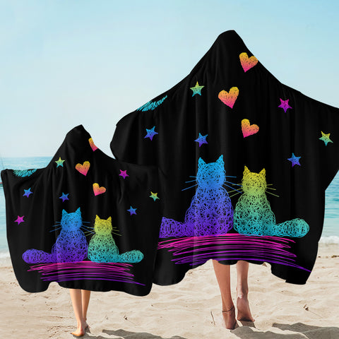Image of Cat Couple Romantic SW1746 Hooded Towel