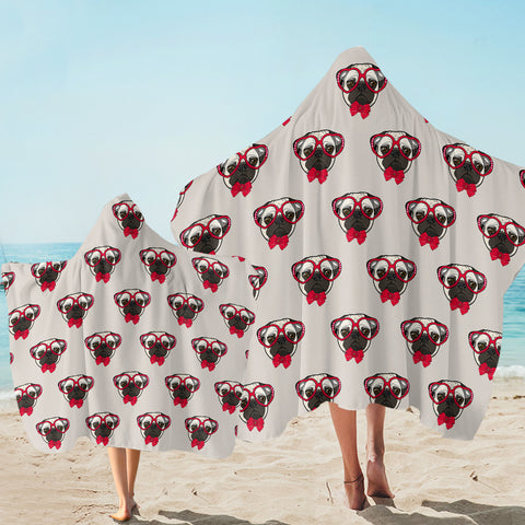 Pug Glasses Pattern SW2517 Hooded Towel