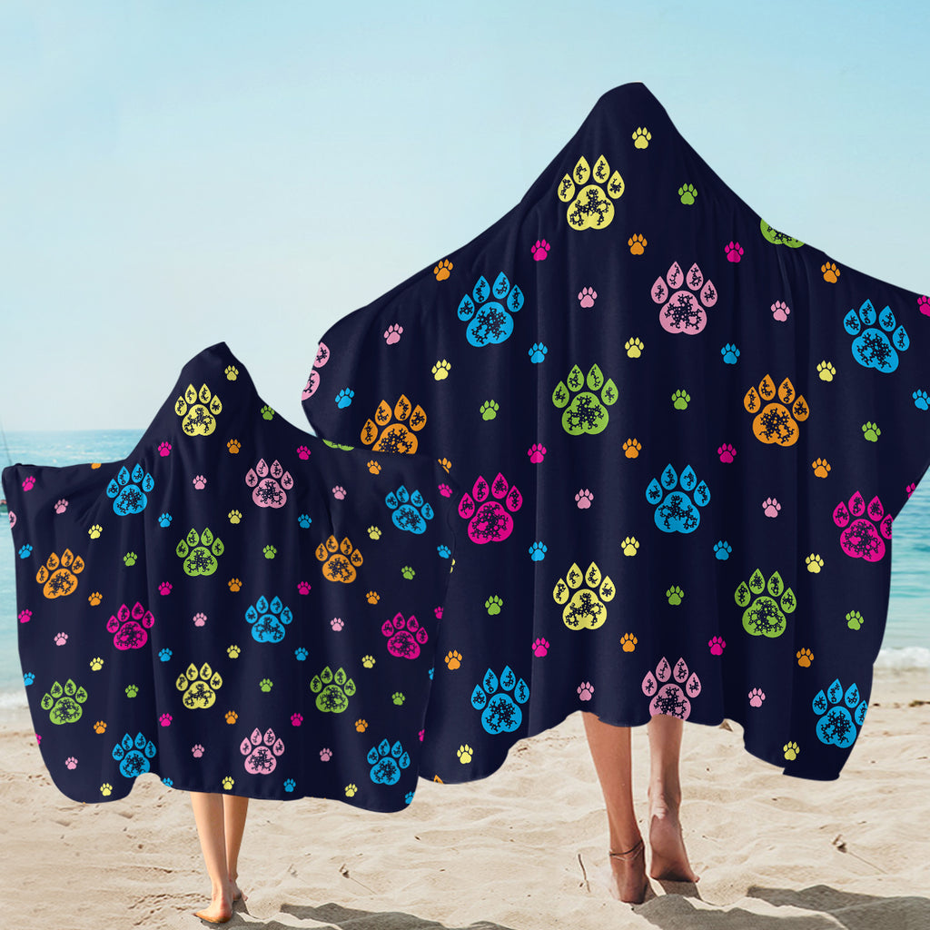Paw Print Patterns Dark Blue SW1750 Hooded Towel