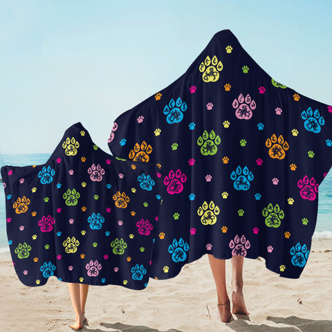 Image of Paw Print Patterns Dark Blue SW1750 Hooded Towel