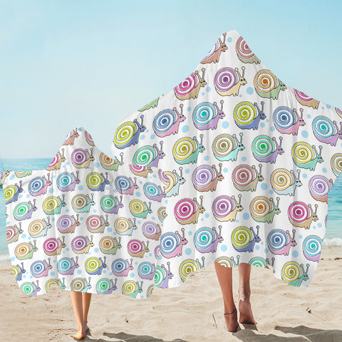 Colorful Snails SW2504 Hooded Towel