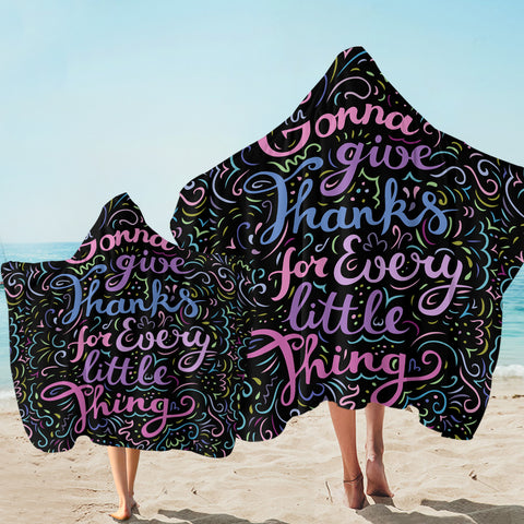 Image of Grateful Quote Black SW1836 Hooded Towel