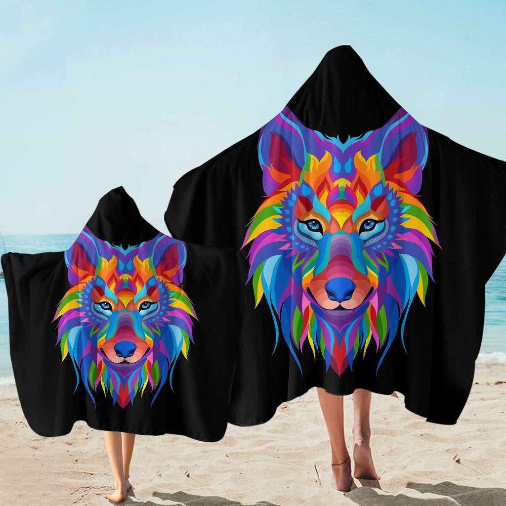 Multicolored Wolf SW2086 Hooded Towel
