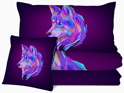 Image of 4 Pieces Multicolor Wolf Eggplant Comforter Set - Beddingify