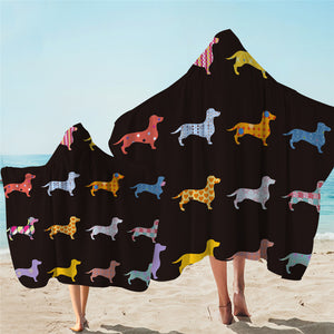 Dachshund Color Shape Hooded Towel