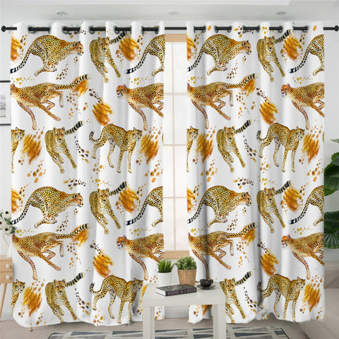 Image of Cheetah Themed 2 Panel Curtains