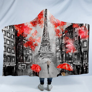Rainy Paris SW1389 Hooded Blanket