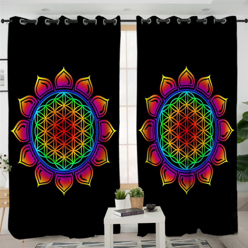 Mayan Flower Themed 2 Panel Curtains