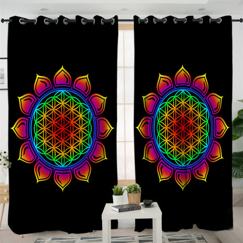 Image of Mayan Flower Themed 2 Panel Curtains