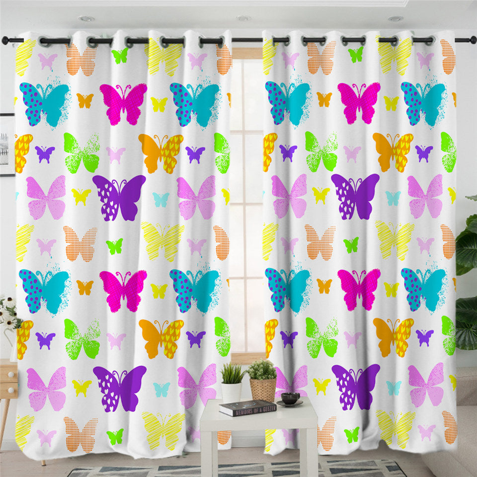 Colorful Butterflies Themed 2 Panel Curtains