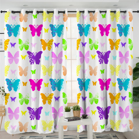 Image of Colorful Butterflies Themed 2 Panel Curtains