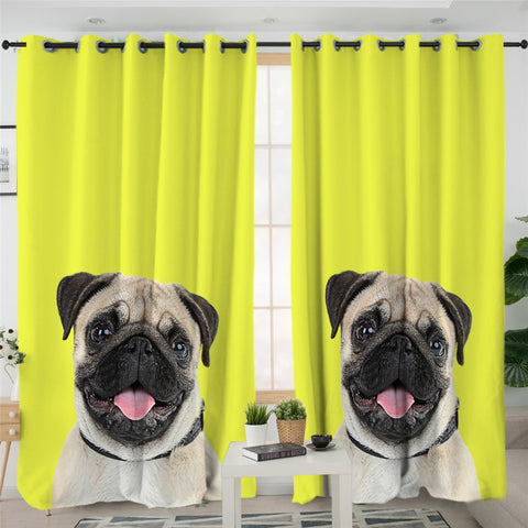 Image of Yellow Pug 2 Panel Curtains