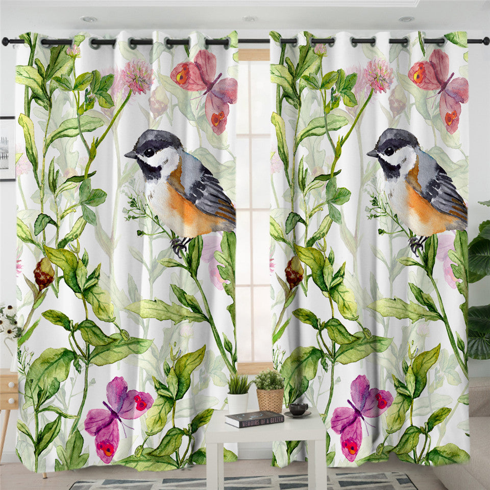 Bird Leaves Themed 2 Panel Curtains