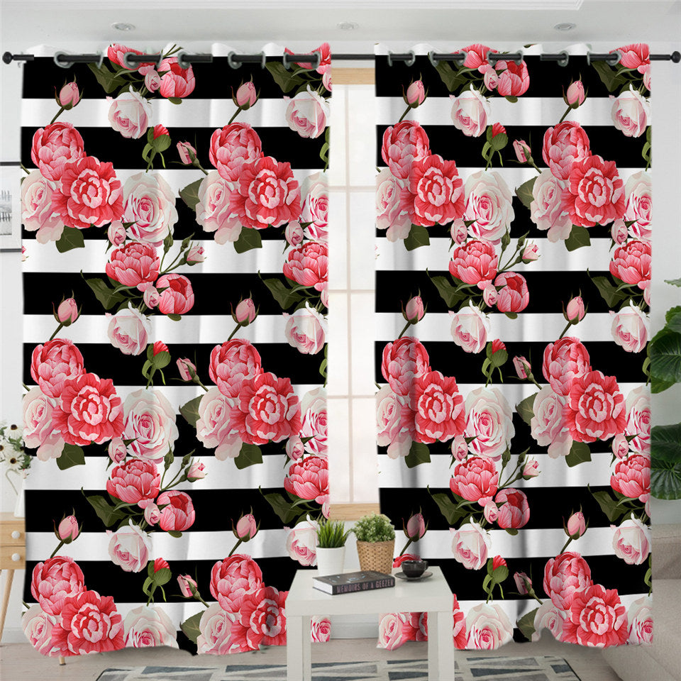 Pink Rose B&W Stripes 2 Panel Curtains