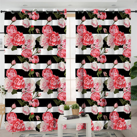 Image of Pink Rose B&W Stripes 2 Panel Curtains