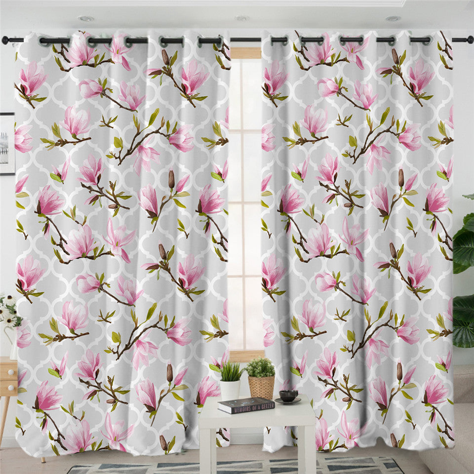 Pink Orchid Gray 2 Panel Curtains