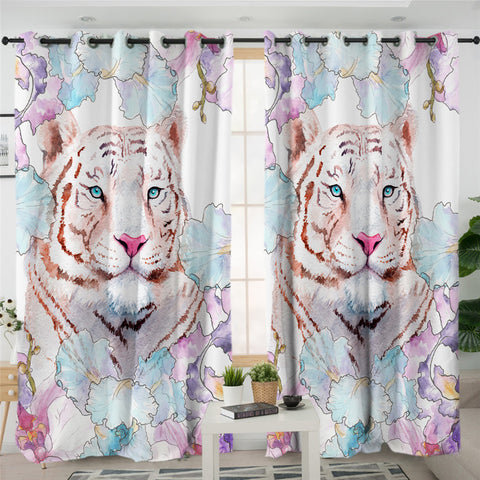 Flower Tiger 2 Panel Curtains
