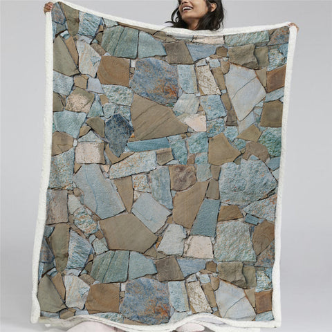 3D Grey Marble Sherpa Fleece Blanket - Beddingify