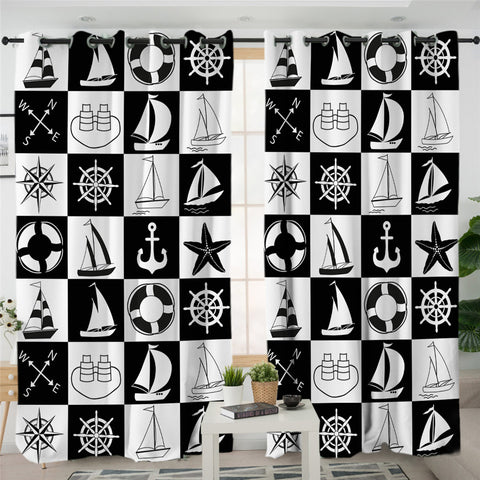 Image of Checkerboard Nautical Icons 2 Panel Curtains