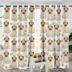 Crown Pug Themed 2 Panel Curtains