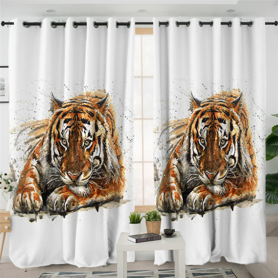 Color Spray Tiger 2 Panel Curtains