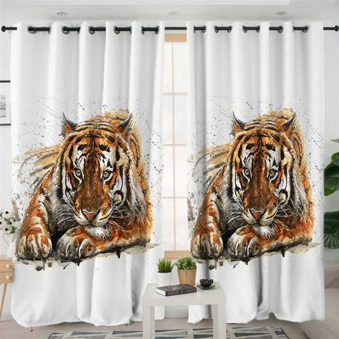 Image of Color Spray Tiger 2 Panel Curtains