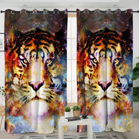 Tiger Cosmic Themed 2 Panel Curtains