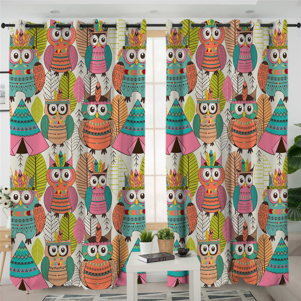 Tribal Owls 2 Panel Curtains