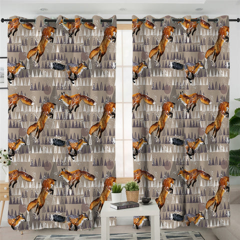 Image of Fox Themed 2 Panel Curtains