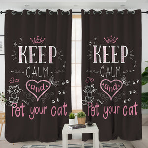 Keep Calm & Pet Your Cat 2 Panel Curtains