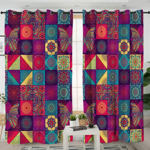 Image of Textile Tiles 2 Panel Curtains