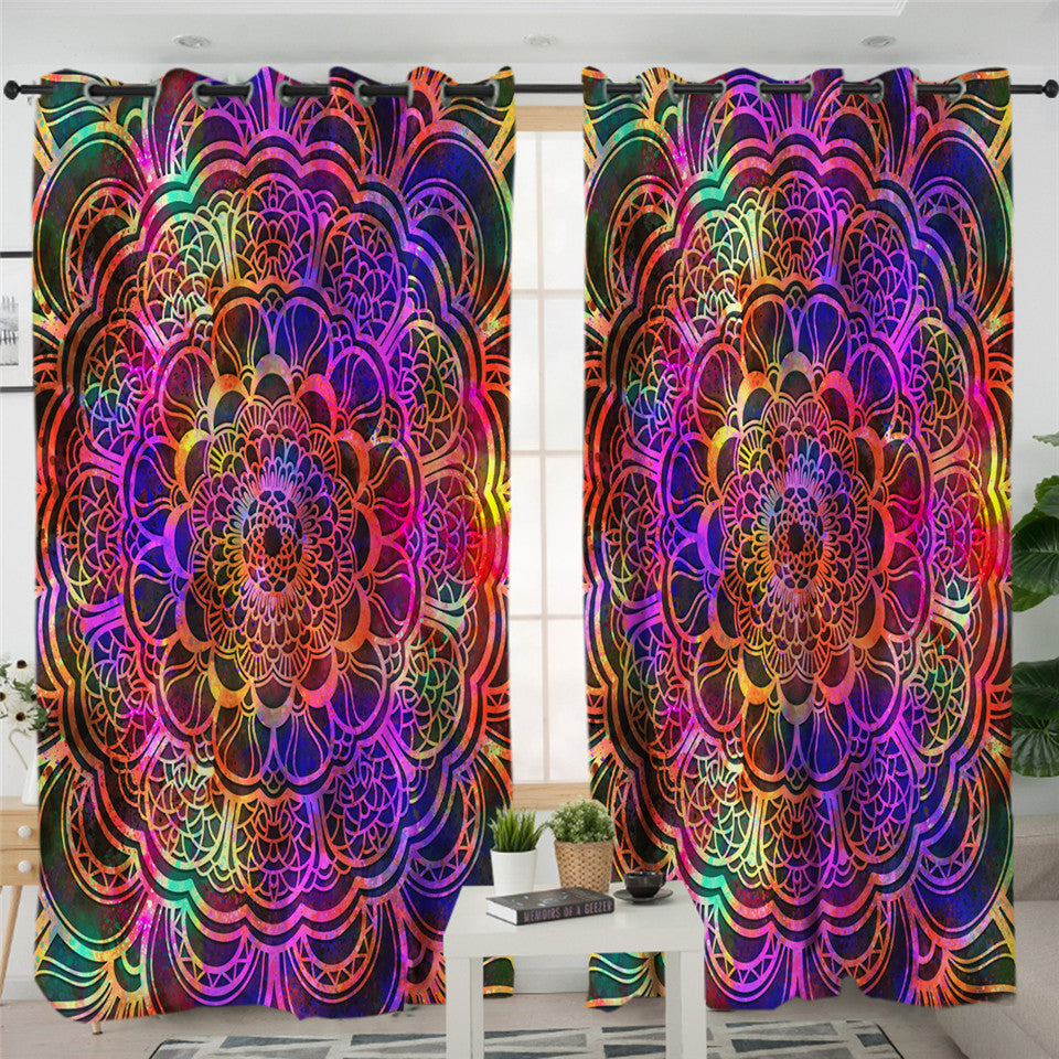 Mandala Disco Style 2 Panel Curtains