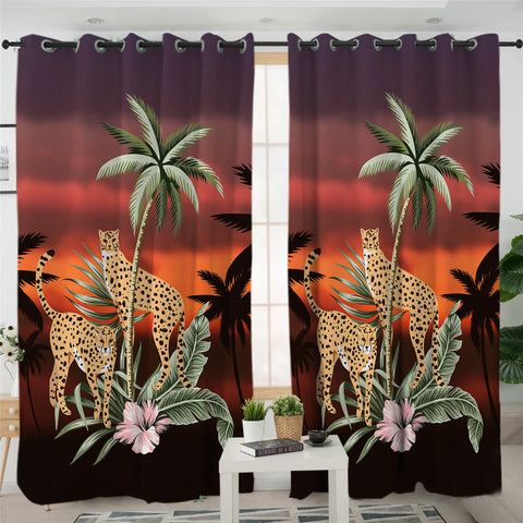Image of Palm Leaf Cheetah 2 Panel Curtains