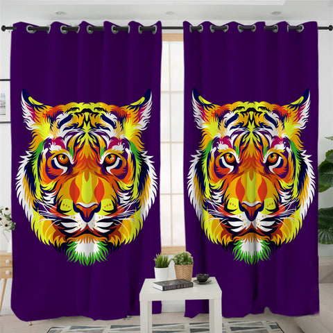 Stylized Tiger Purple 2 Panel Curtains