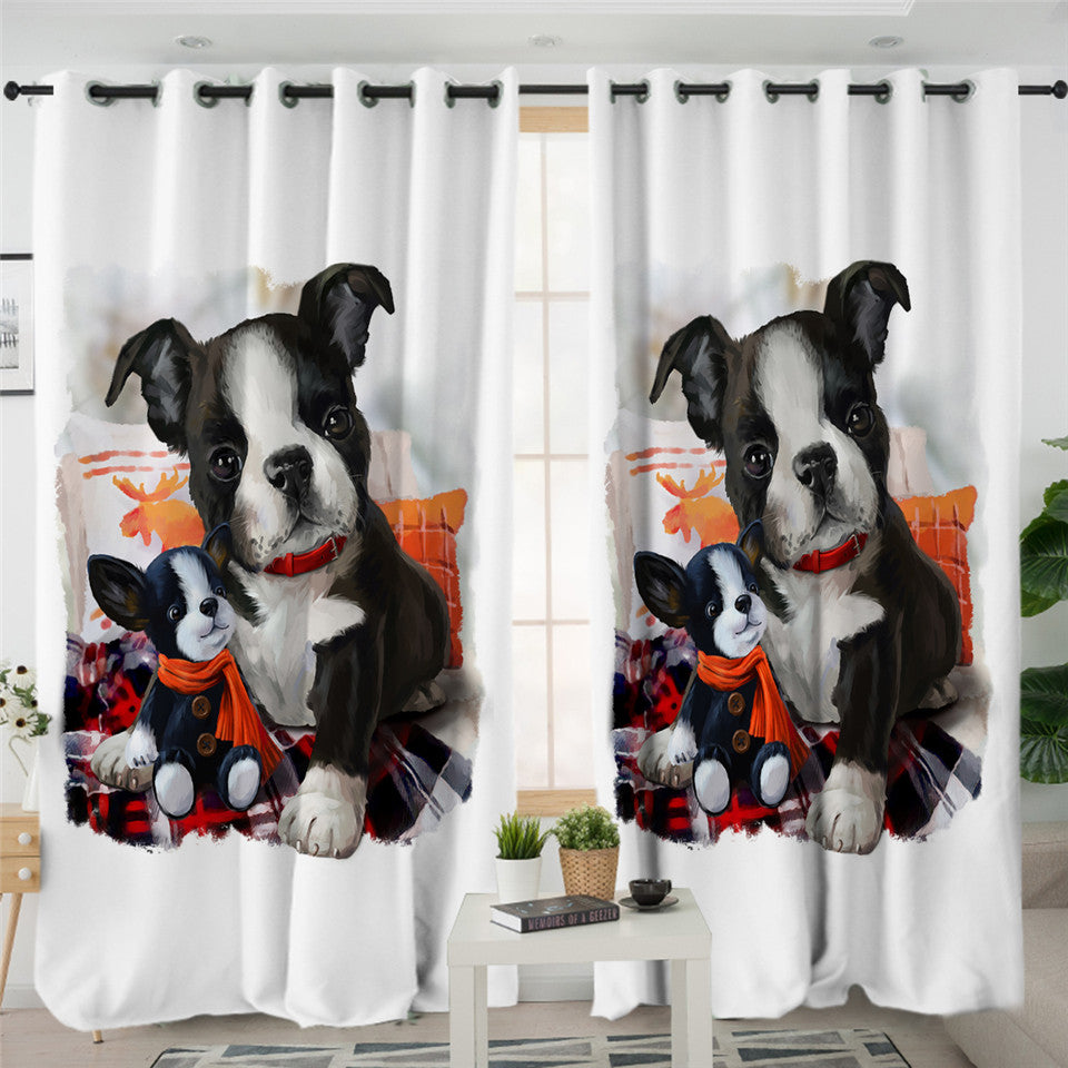 Dog Family 2 Panel Curtains