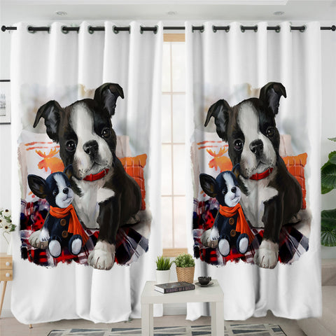 Image of Dog Family 2 Panel Curtains