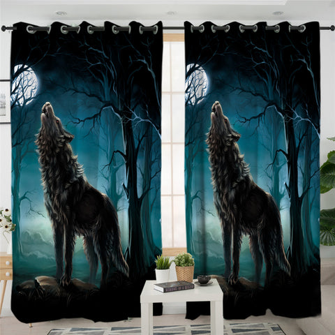 Image of Wolfhowl Dark 2 Panel Curtains