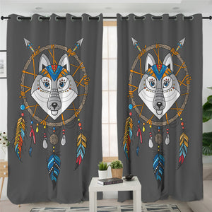 Cartoon Wolf Dream Catcher 2 Panel Curtains