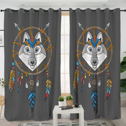 Image of Cartoon Wolf Dream Catcher 2 Panel Curtains