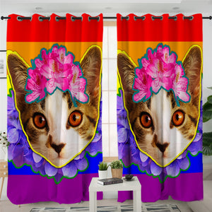 Cute Kitty Cat 2 Panel Curtains
