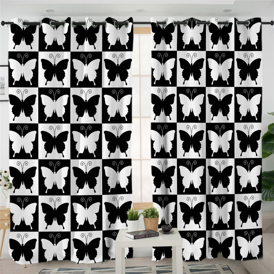 Checkerboard Butterflies Themed 2 Panel Curtains